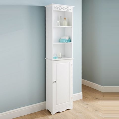 White Wooden Tall Narrow Bathroom Tallboy Shelves & Cupboard